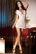 Romantic nightie, mesh, floral lace, short sleeves